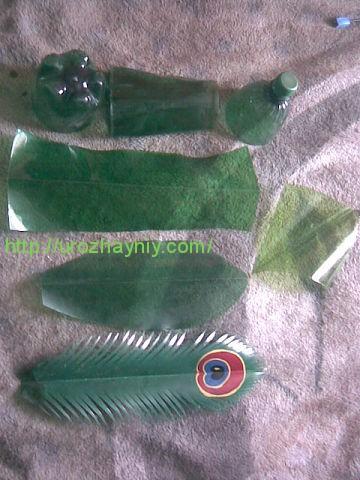 Как сделать павлина из пластиковых бутылок.  Алена Зиновьева.