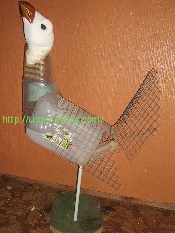 Пошаговая инструкция сделать птицу из пластиковых бутылок