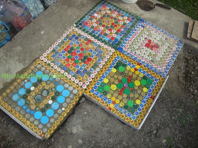 Как сделать коврик из пластиковых крышек своими руками