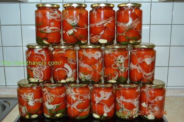 рецепты маринованых помидоров с луком в желе