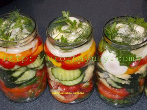 Салат из овощей в желе