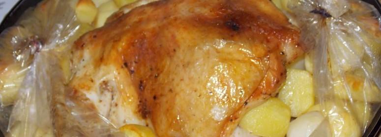 Курица с картошкой в рукаве(пошаговый рецепт)