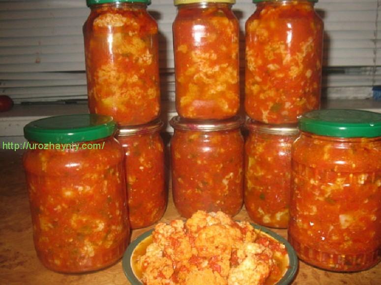 заготовки из цветной капусты на зиму рецепты с помидорами