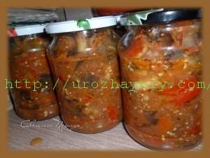 салат с баклажанами, морковью и луком на зиму